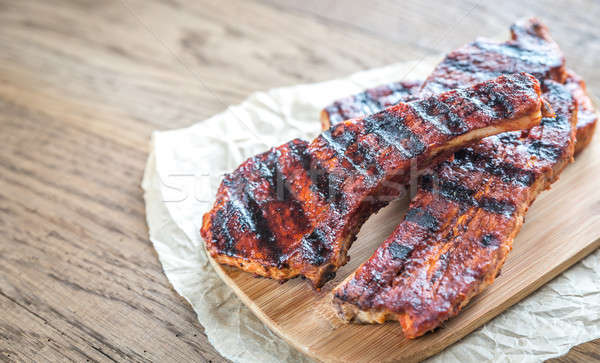 Grilled pork ribs on the baking paper Stock photo © Alex9500