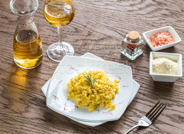 Risotto safran restaurant table vert fromages Photo stock © Alex9500