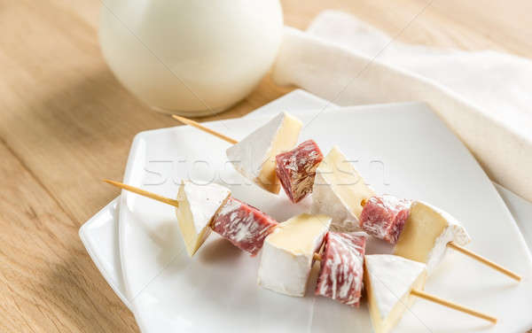 Camembert and salami  skewers Stock photo © Alex9500