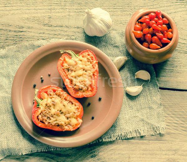 Gevuld paprika vlees rustiek voedsel Stockfoto © Alex9500