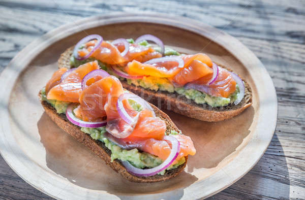 Toasts with avocado and smoked salmon Stock photo © Alex9500
