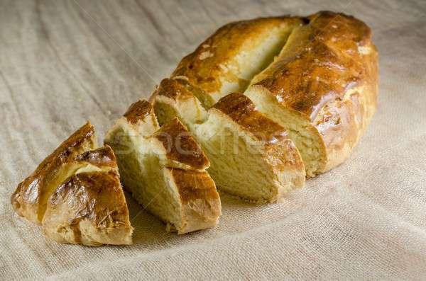 Francia kenyér reggeli desszert ezüst makró pékség Stock fotó © Alex9500