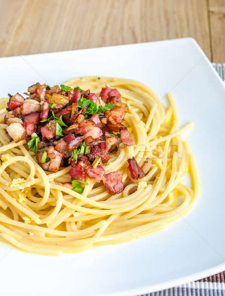 Pasta Carbonara with bacon and parmesan Stock photo © Alex9500