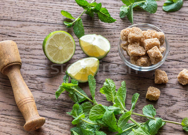 Ingredients for mojito on the wooden background Stock photo © Alex9500