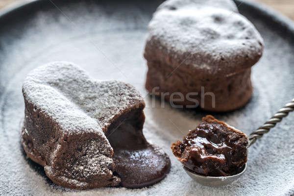 Chocolate lava bolos forma coração comida Foto stock © Alex9500