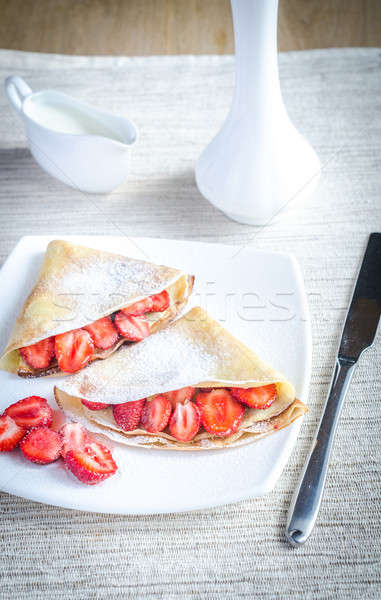 Crepes with fresh strawberries Stock photo © Alex9500