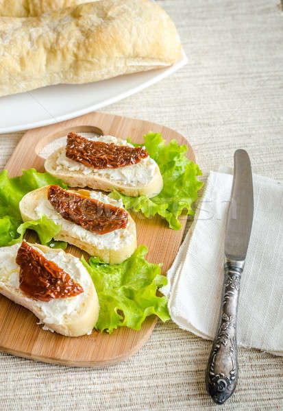 Ciabatta sandwiches with cottage cheese and sun-dried tomatoes Stock photo © Alex9500