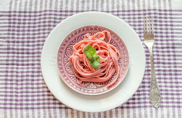 Foto stock: Porción · pasta · hoja · placa · tenedor