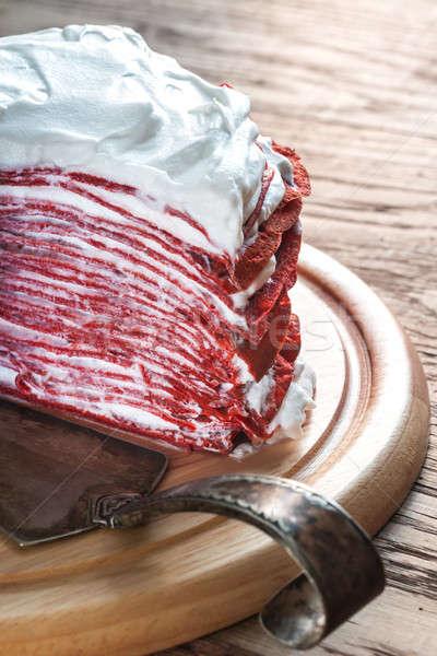 Red velvet crepe cake on the wooden board Stock photo © Alex9500