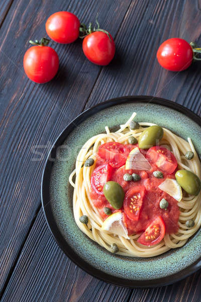 Stockfoto: Pasta · tomatensaus · olijven · voedsel · olie · plaat