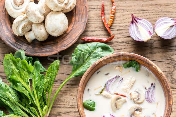 Tailandés coco crema sopa restaurante verde Foto stock © Alex9500