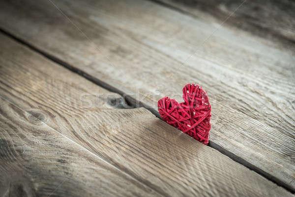 Handmade retro heart on the wooden background Stock photo © Alex9500
