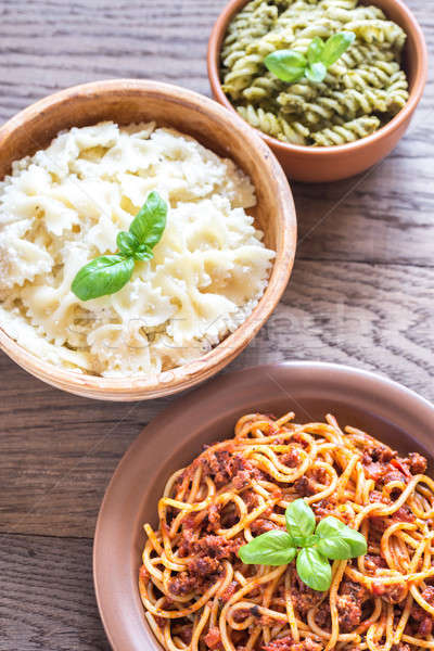 Pasta with different kinds of sauce Stock photo © Alex9500