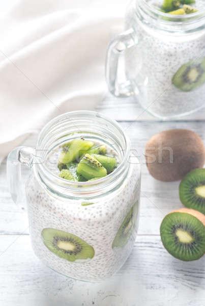 Chia seed puddings with kiwifruit slices Stock photo © Alex9500