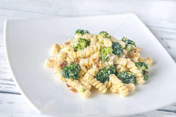 Pasta with broccoli, bacon and alfredo sauce Stock photo © Alex9500