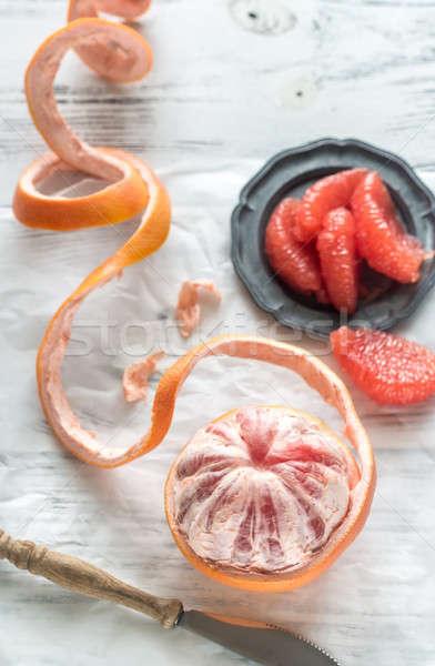 Hámozott grapefruit asztal étel kereszt nyár Stock fotó © Alex9500