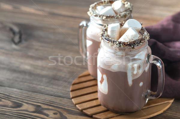 Kettő forró csokoládé kávé üveg csokoládé háttér Stock fotó © Alex9500