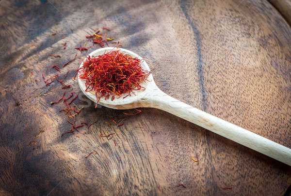 Saffron on the wooden spoon Stock photo © Alex9500