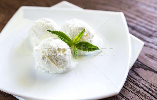 Vanília fagylalt háttér jég labda kávézó Stock fotó © Alex9500