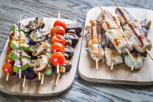 Grilled chicken and vegetables skewers Stock photo © Alex9500