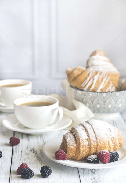 Croissants with fresh berries and two cups of coffee Stock photo © Alex9500