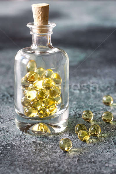 Omega3 visolie capsules glas fles vis Stockfoto © Alex9500