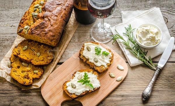 Stock photo: Pumpkin bread with cream cheese