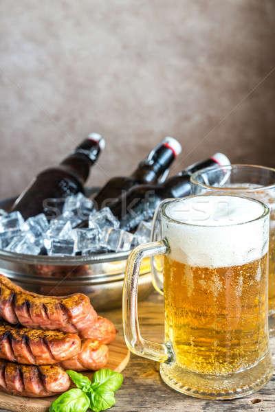 Сток-фото: гриль · пива · бутылок · стекла · льда