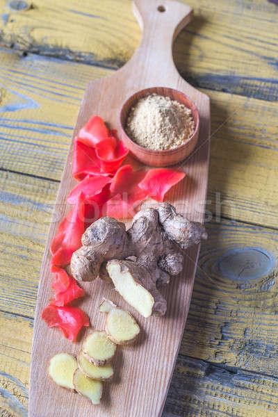 Variëteit gember producten voedsel achtergrond kleur Stockfoto © Alex9500