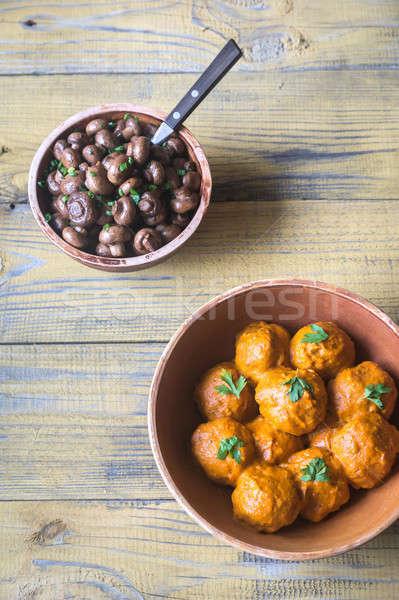 Stock photo: Bowl of turkey meatballs with roasted mushrooms