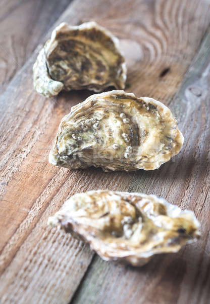 Raw oysters on the wooden background Stock photo © Alex9500