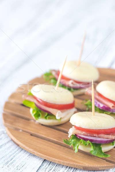 Mini cheese and prosciutto sandwiches Stock photo © Alex9500
