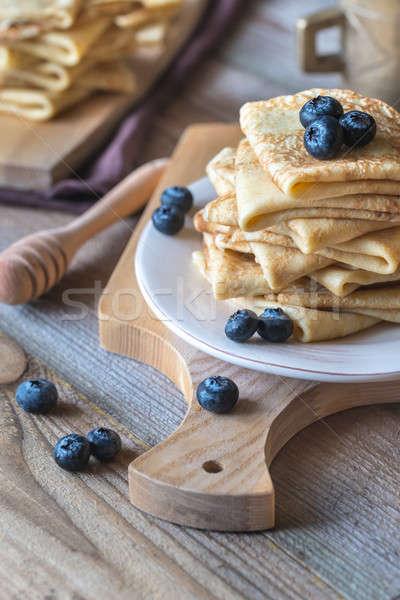 新鮮な ブルーベリー はちみつ 背景 朝食 食べ ストックフォト © Alex9500