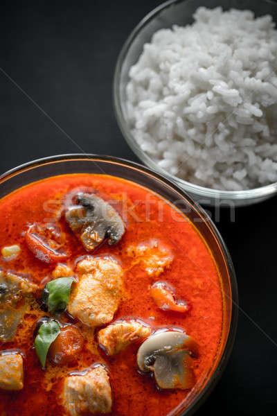Foto stock: Thai · vermelho · caril · de · frango · branco · arroz · leite