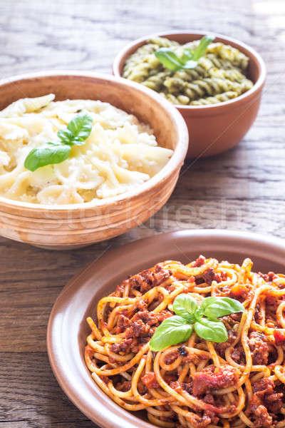 Stockfoto: Pasta · verschillend · saus · tomaat · witte · kers