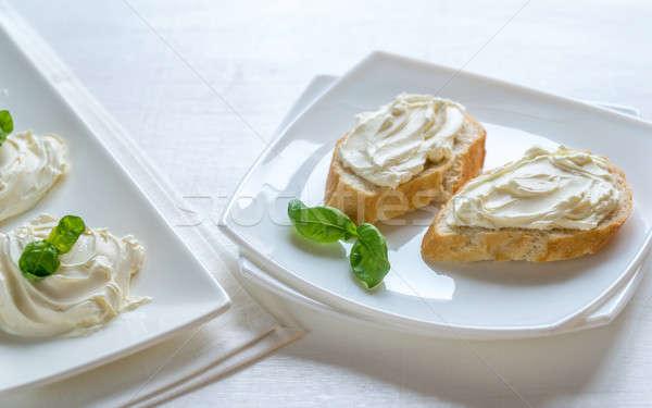 Panini crema formaggio colazione sandwich bianco Foto d'archivio © Alex9500
