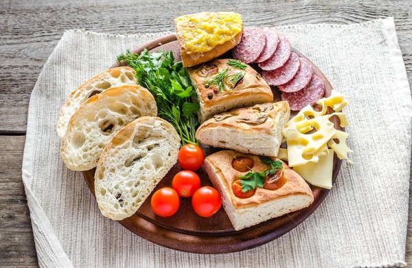 Tradicional italiano pão queijo salame comida Foto stock © Alex9500
