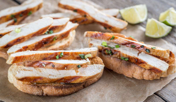 Sandwiches gegrilde kip brood peper biefstuk lunch Stockfoto © Alex9500