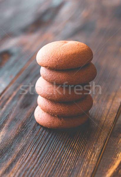 çikolata bisküvi ahşap masa arka plan grup tatlı Stok fotoğraf © Alex9500
