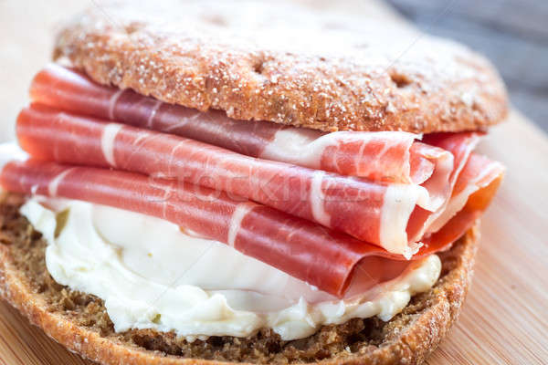 Sandwich with cream cheese and jamon Stock photo © Alex9500