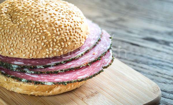 Szendvics szalámi étel vacsora piros búza Stock fotó © Alex9500