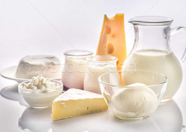 Tejtermékek válogatás étel gyümölcs asztal csoport Stock fotó © Alex9500