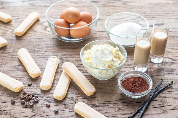 Ingrediënten tiramisu houten koffie achtergrond kaas Stockfoto © Alex9500