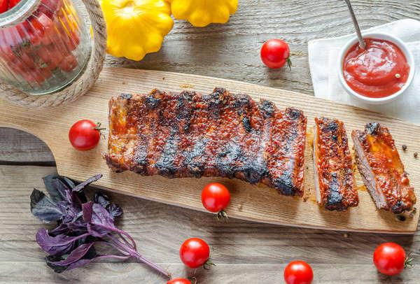 Alla griglia carne di maiale salsa barbecue cucina ristorante Foto d'archivio © Alex9500