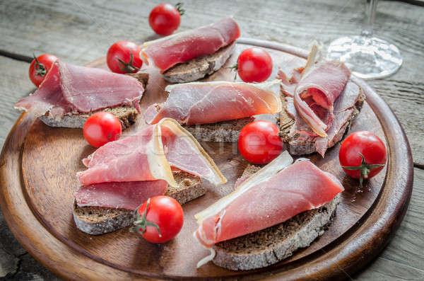 Dilimleri İtalyan jambon sandviçler şarap Stok fotoğraf © Alex9500