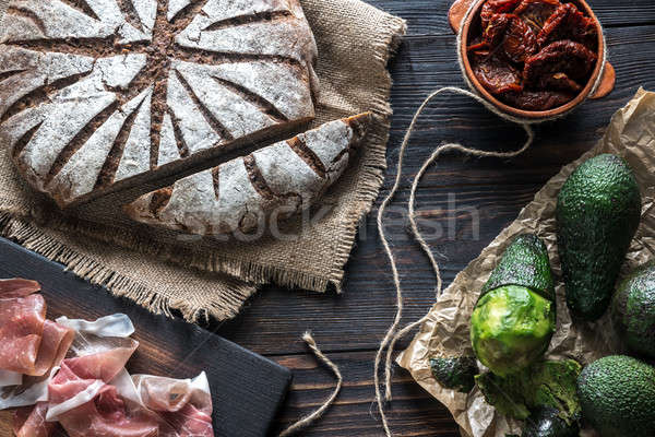Rye bread with antipasto Stock photo © Alex9500