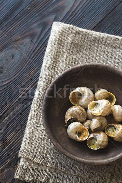 Tazón cocido cena caracol dieta saludable Foto stock © Alex9500