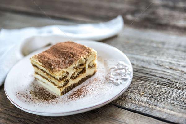 ティラミス プレート 木製 コーヒー 光 チーズ ストックフォト © Alex9500