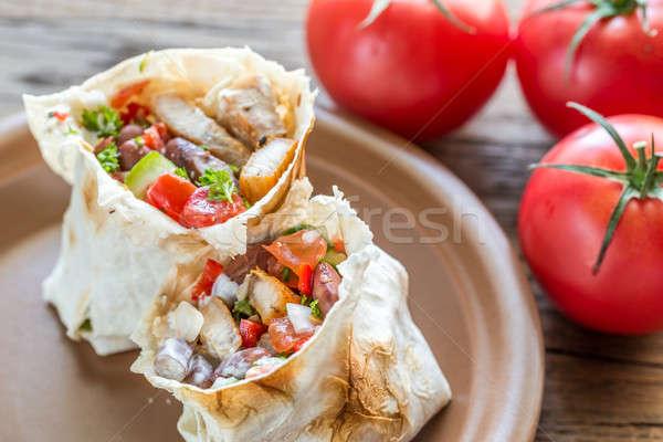 Two portions of chicken burrito Stock photo © Alex9500