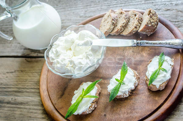 Wholewheat bread with cream cheese Stock photo © Alex9500